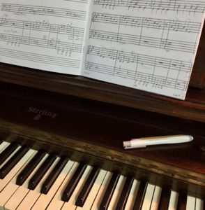 composing at the piano